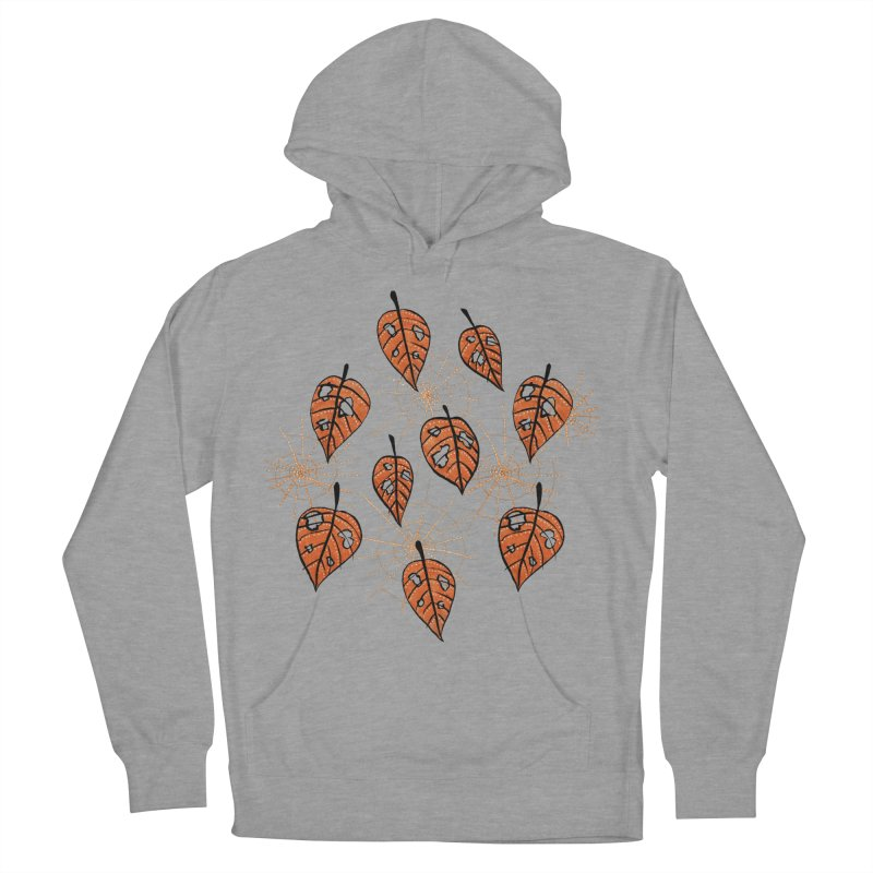 Orange Leaves With Holes And Spiderwebs Women's Pullover Hoody by Boriana's Artist Shop