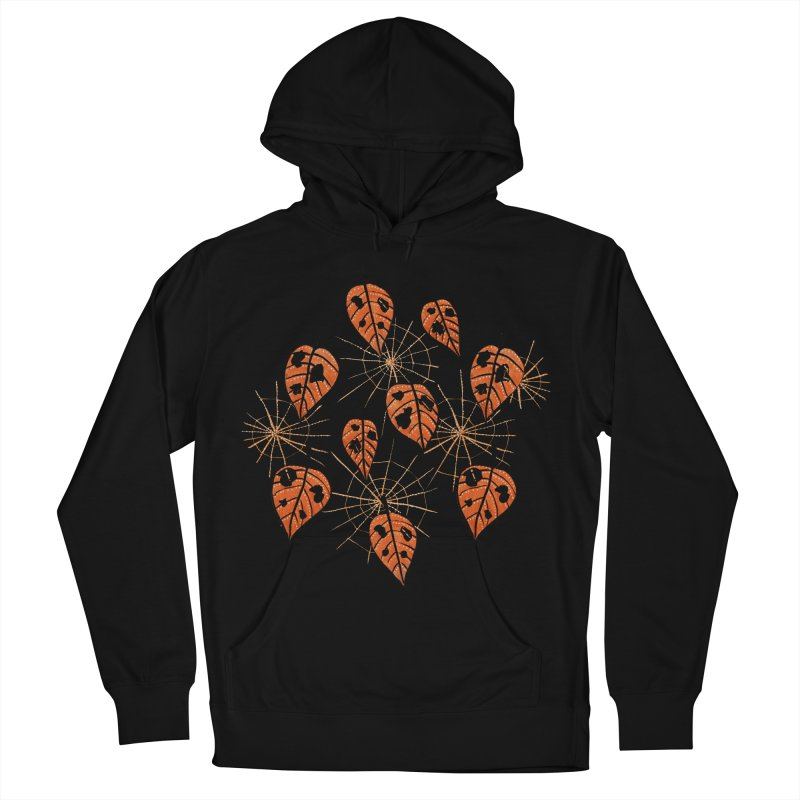 Orange Leaves With Holes And Spiderwebs Men's Pullover Hoody by Boriana's Artist Shop
