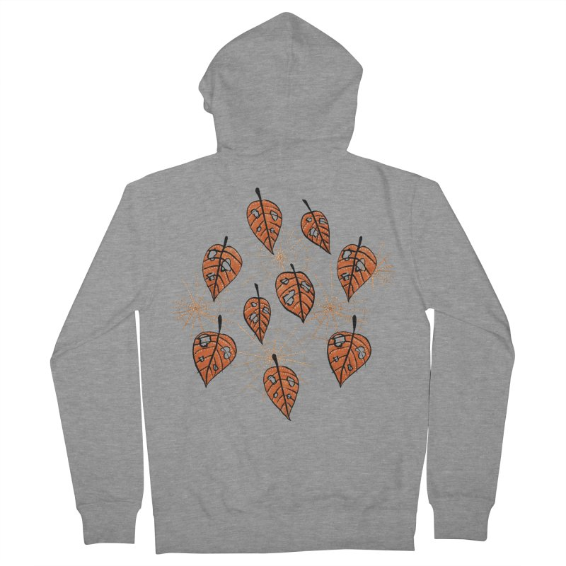 Orange Leaves With Holes And Spiderwebs Women's Zip-Up Hoody by Boriana's Artist Shop