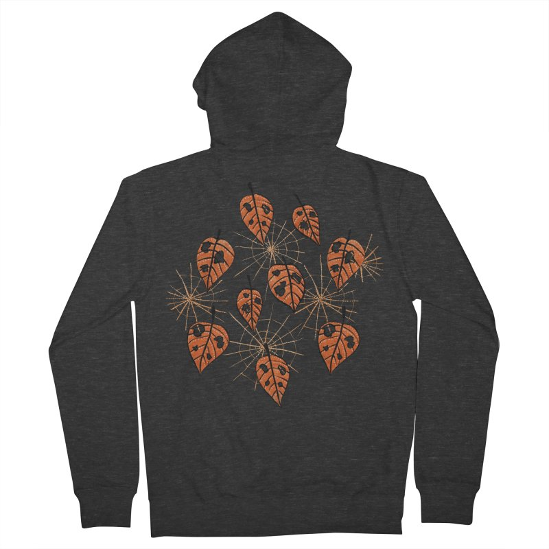 Orange Leaves With Holes And Spiderwebs Men's Zip-Up Hoody by Boriana's Artist Shop