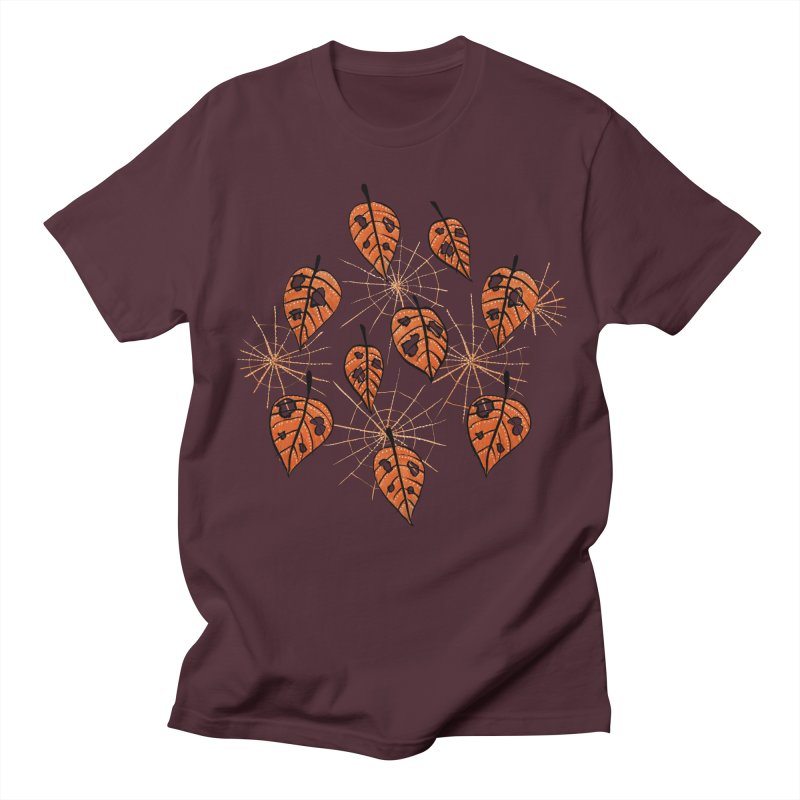 Orange Leaves With Holes And Spiderwebs Men's T-Shirt by Boriana's Artist Shop