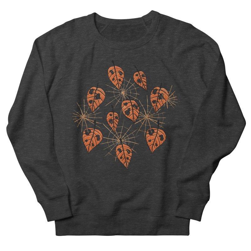 Orange Leaves With Holes And Spiderwebs Men's Sweatshirt by Boriana's Artist Shop