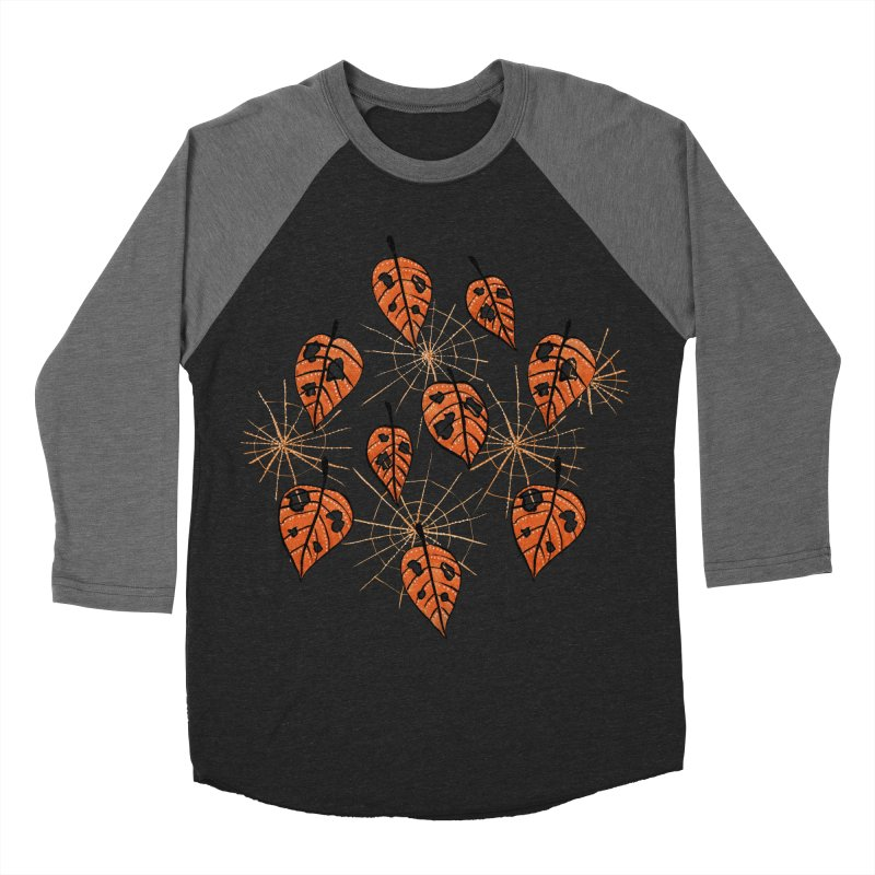 Orange Leaves With Holes And Spiderwebs Men's Baseball Triblend T-Shirt by Boriana's Artist Shop