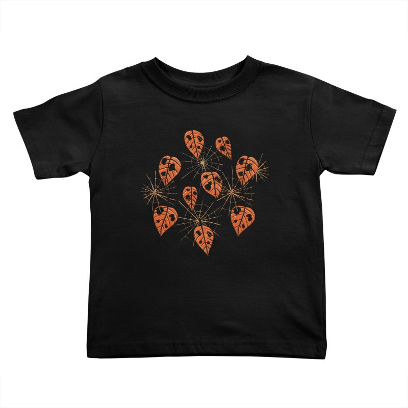 Orange Leaves With Holes And Spiderwebs Kids Toddler T-Shirt by Boriana's Artist Shop