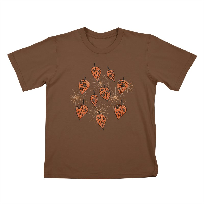Orange Leaves With Holes And Spiderwebs Kids T-Shirt by Boriana's Artist Shop