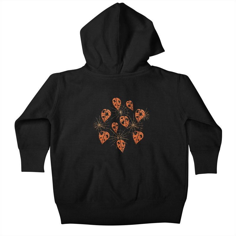 Orange Leaves With Holes And Spiderwebs Kids Baby Zip-Up Hoody by Boriana's Artist Shop