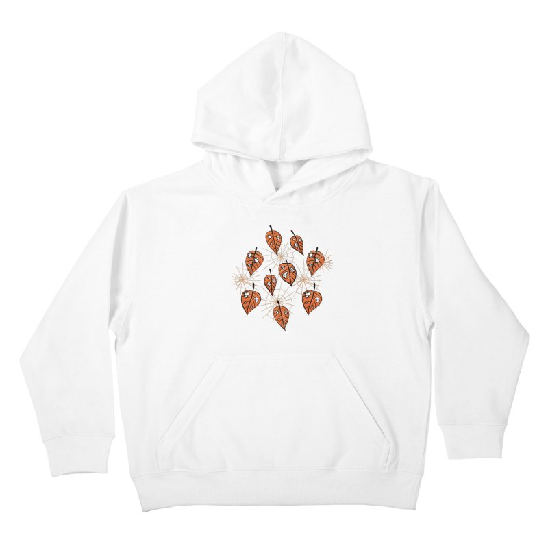 Orange Leaves With Holes And Spiderwebs Kids Pullover Hoody by Boriana's Artist Shop