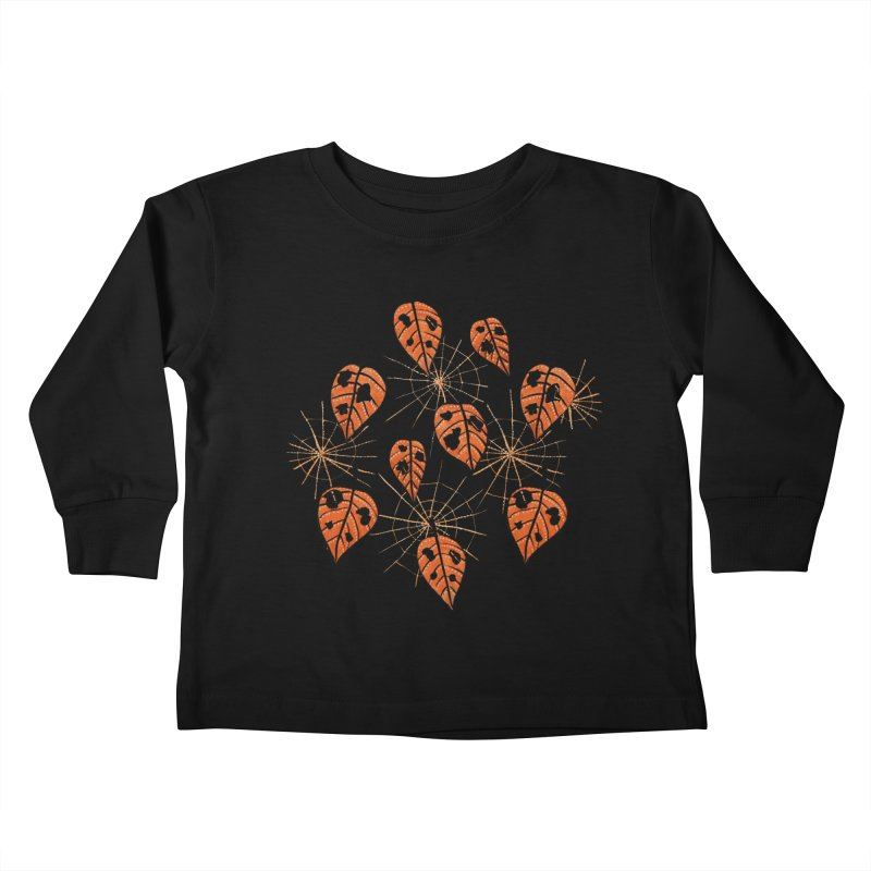 Orange Leaves With Holes And Spiderwebs Kids Toddler Longsleeve T-Shirt by Boriana's Artist Shop
