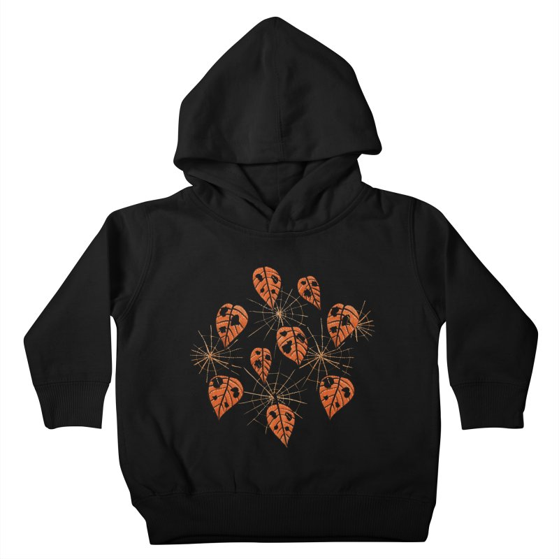 Orange Leaves With Holes And Spiderwebs Kids Toddler Pullover Hoody by Boriana's Artist Shop