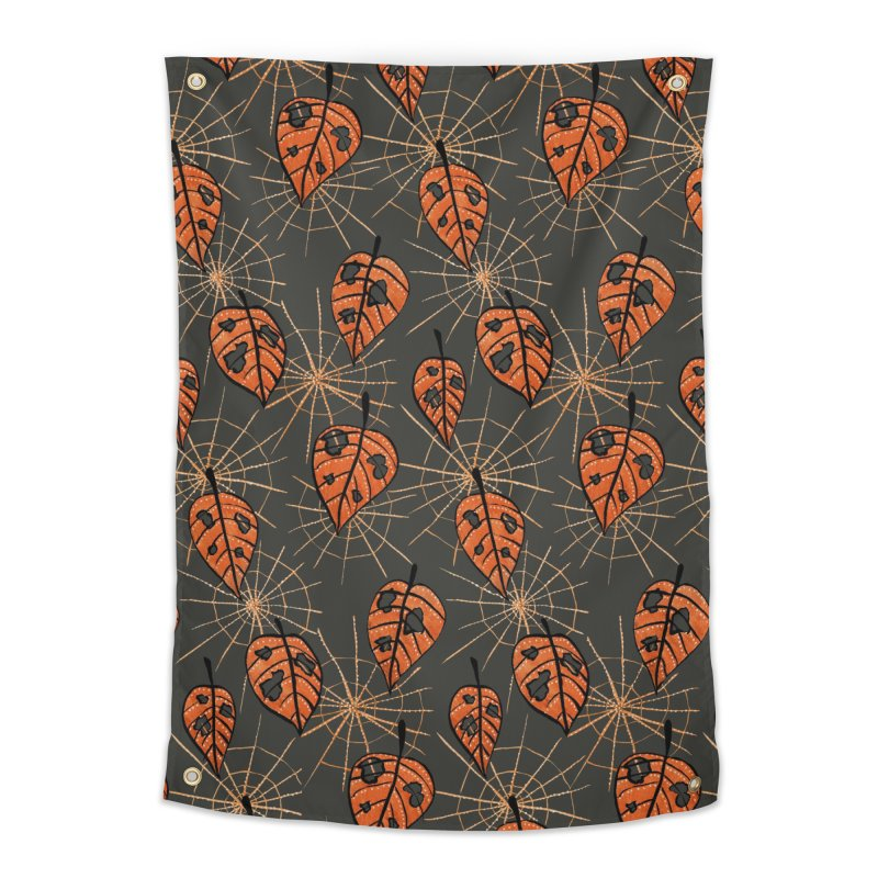 Orange Leaves With Holes And Spiderwebs Home Tapestry by Boriana's Artist Shop