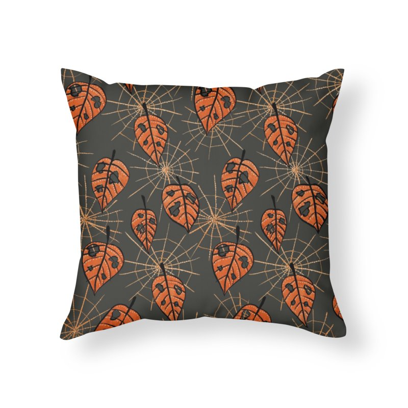 Orange Leaves With Holes And Spiderwebs Home Throw Pillow by Boriana's Artist Shop
