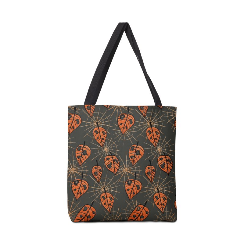 Orange Leaves With Holes And Spiderwebs Accessories Bag by Boriana's Artist Shop