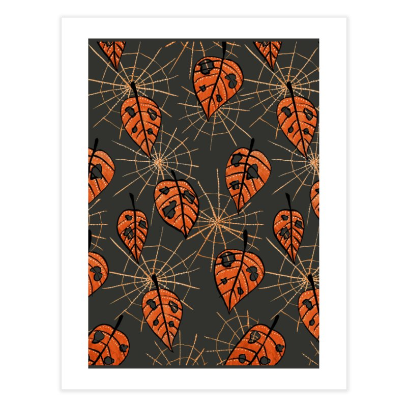 Orange Leaves With Holes And Spiderwebs Home Fine Art Print by Boriana's Artist Shop