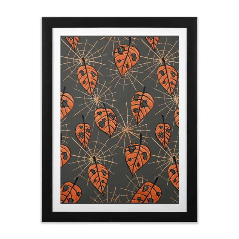 Orange Leaves With Holes And Spiderwebs Home Framed Fine Art Print by Boriana's Artist Shop