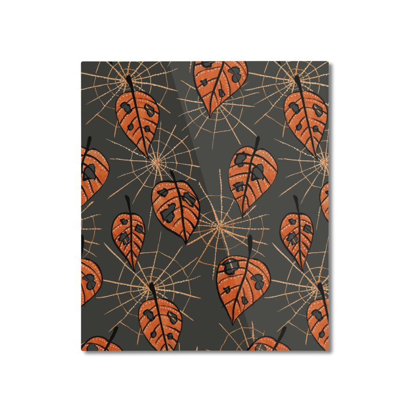 Orange Leaves With Holes And Spiderwebs Home Mounted Aluminum Print by Boriana's Artist Shop