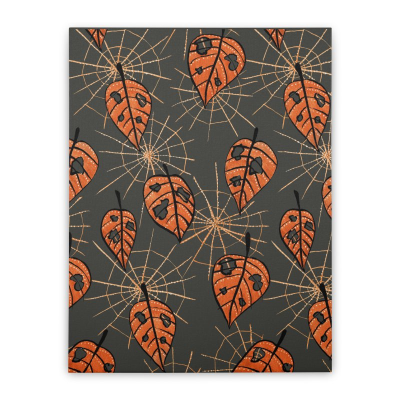 Orange Leaves With Holes And Spiderwebs Home Stretched Canvas by Boriana's Artist Shop