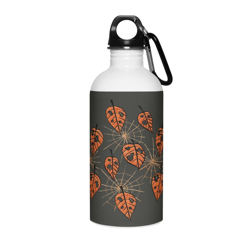 Orange Leaves With Holes And Spiderwebs Accessories Water Bottle by Boriana's Artist Shop