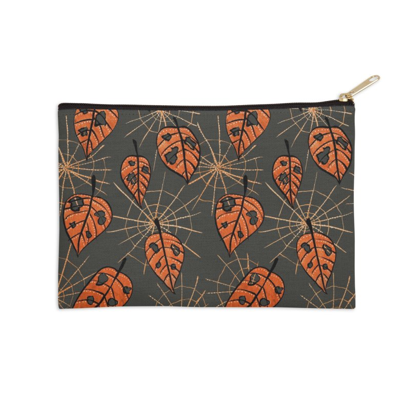 Orange Leaves With Holes And Spiderwebs Accessories Zip Pouch by Boriana's Artist Shop
