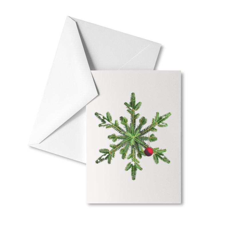 Beautiful Snowy Pine Snowflake Christmas Accessories Greeting Card by Boriana's Artist Shop