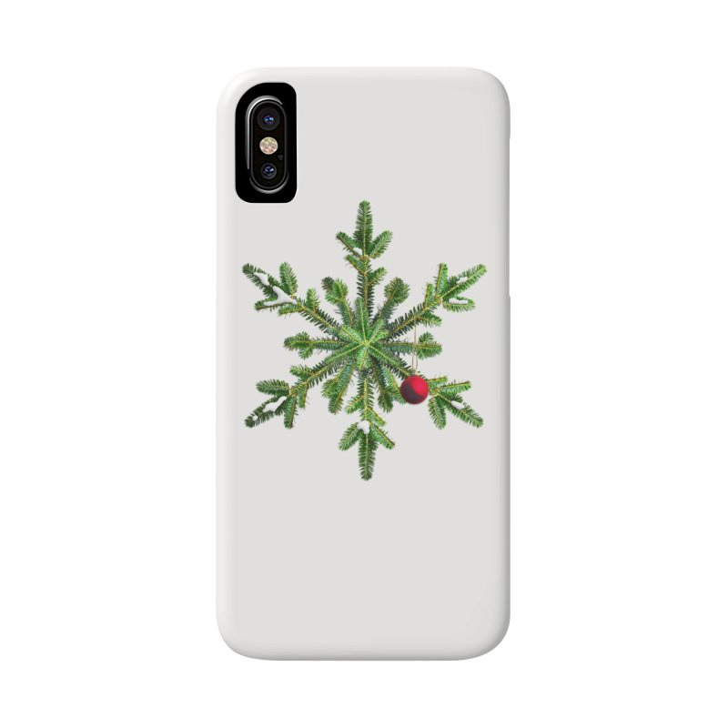 Beautiful Snowy Pine Snowflake Christmas Accessories Phone Case by Boriana's Artist Shop