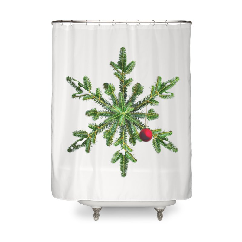 Beautiful Snowy Pine Snowflake Christmas Home Shower Curtain by Boriana's Artist Shop