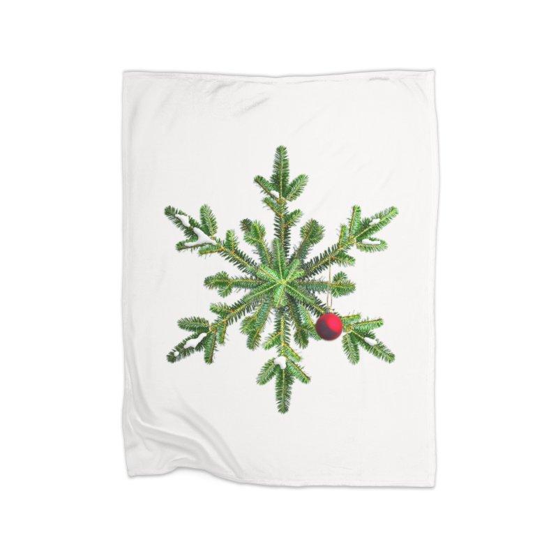 Beautiful Snowy Pine Snowflake Christmas Home Blanket by Boriana's Artist Shop