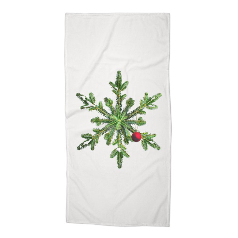 Beautiful Snowy Pine Snowflake Christmas Accessories Beach Towel by Boriana's Artist Shop