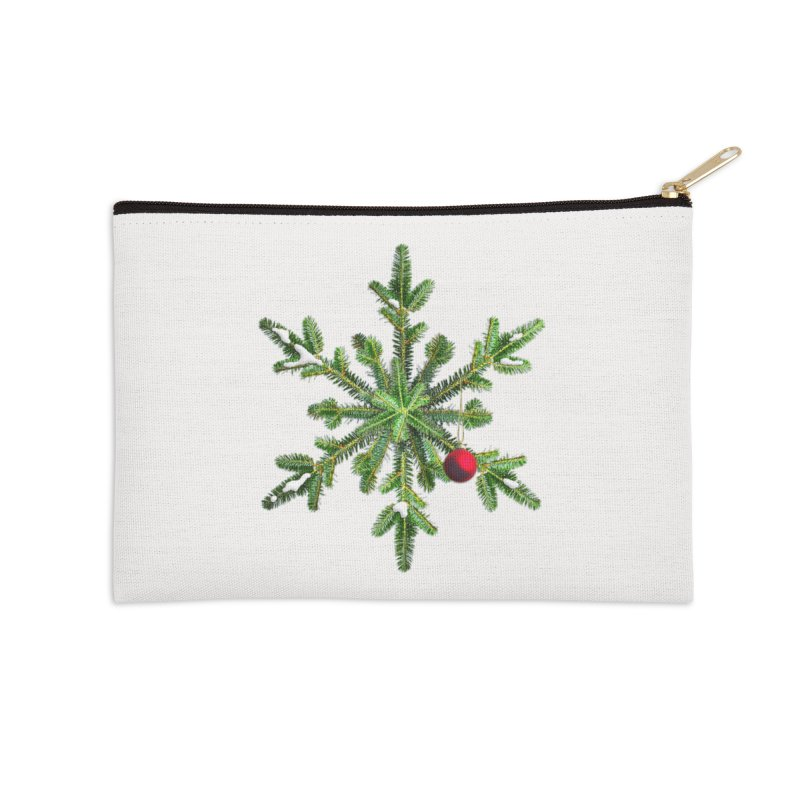Beautiful Snowy Pine Snowflake Christmas Accessories Zip Pouch by Boriana's Artist Shop