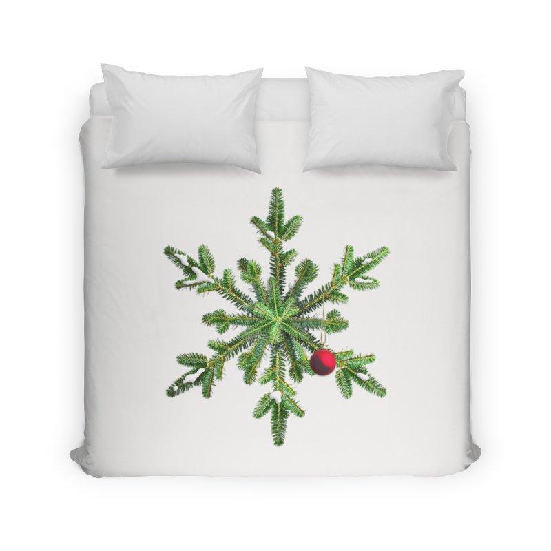 Beautiful Snowy Pine Snowflake Christmas Home Duvet by Boriana's Artist Shop