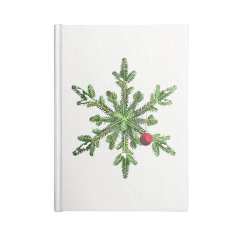 Beautiful Snowy Pine Snowflake Christmas Accessories Notebook by Boriana's Artist Shop