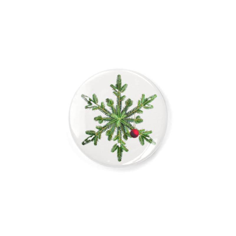 Beautiful Snowy Pine Snowflake Christmas Accessories Button by Boriana's Artist Shop