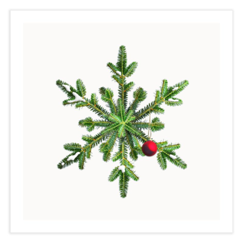 Beautiful Snowy Pine Snowflake Christmas Home Fine Art Print by Boriana's Artist Shop