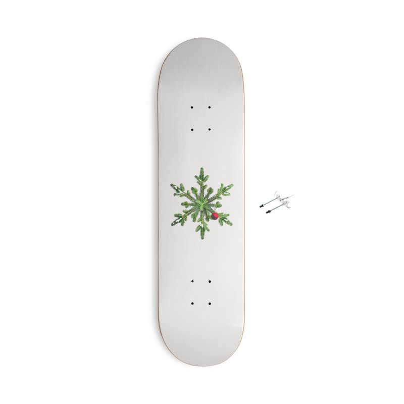 Beautiful Snowy Pine Snowflake Christmas Accessories Skateboard by Boriana's Artist Shop