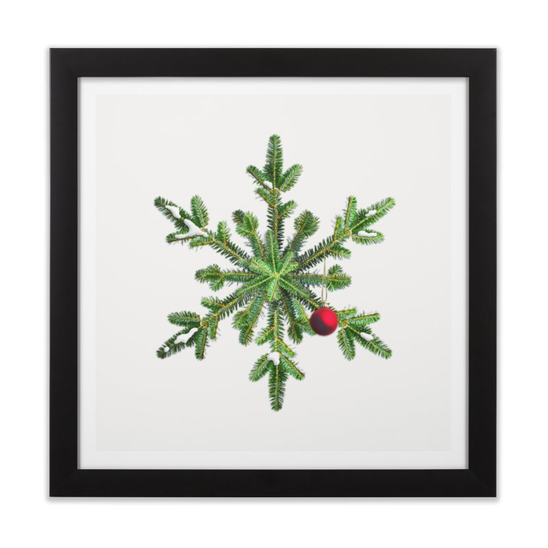 Beautiful Snowy Pine Snowflake Christmas Home Framed Fine Art Print by Boriana's Artist Shop