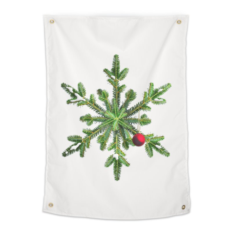 Beautiful Snowy Pine Snowflake Christmas Home Tapestry by Boriana's Artist Shop