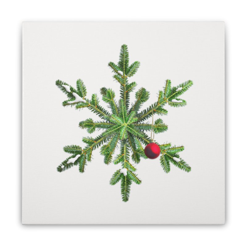 Beautiful Snowy Pine Snowflake Christmas Home Stretched Canvas by Boriana's Artist Shop