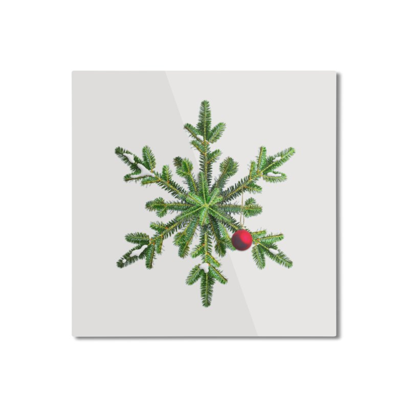 Beautiful Snowy Pine Snowflake Christmas Home Mounted Aluminum Print by Boriana's Artist Shop