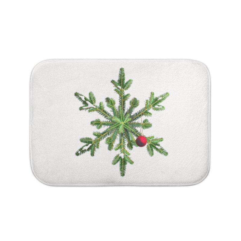 Beautiful Snowy Pine Snowflake Christmas Home Bath Mat by Boriana's Artist Shop
