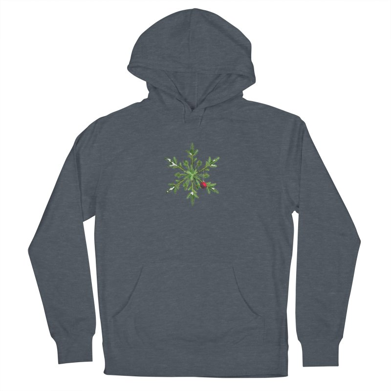 Beautiful Snowy Pine Snowflake Christmas Men's Pullover Hoody by Boriana's Artist Shop