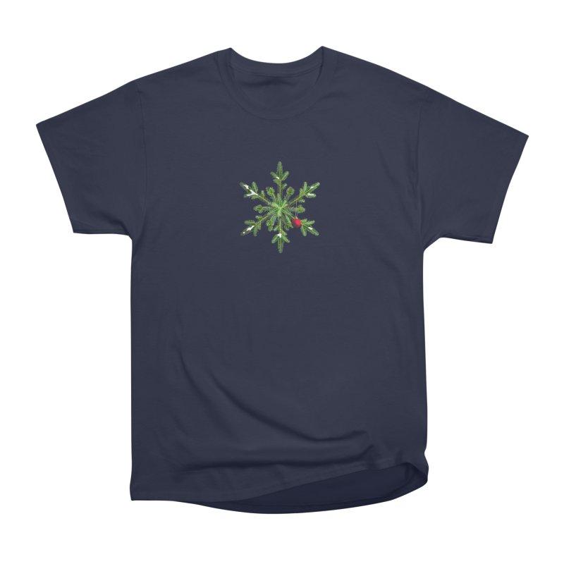 Beautiful Snowy Pine Snowflake Christmas Women's Classic Unisex T-Shirt by Boriana's Artist Shop