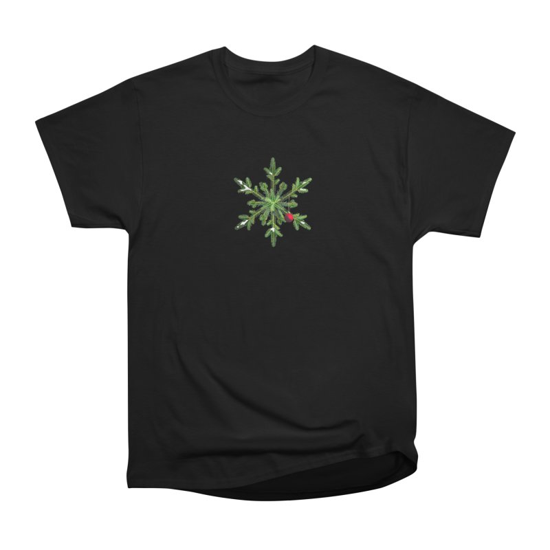 Beautiful Snowy Pine Snowflake Christmas Men's Classic T-Shirt by Boriana's Artist Shop