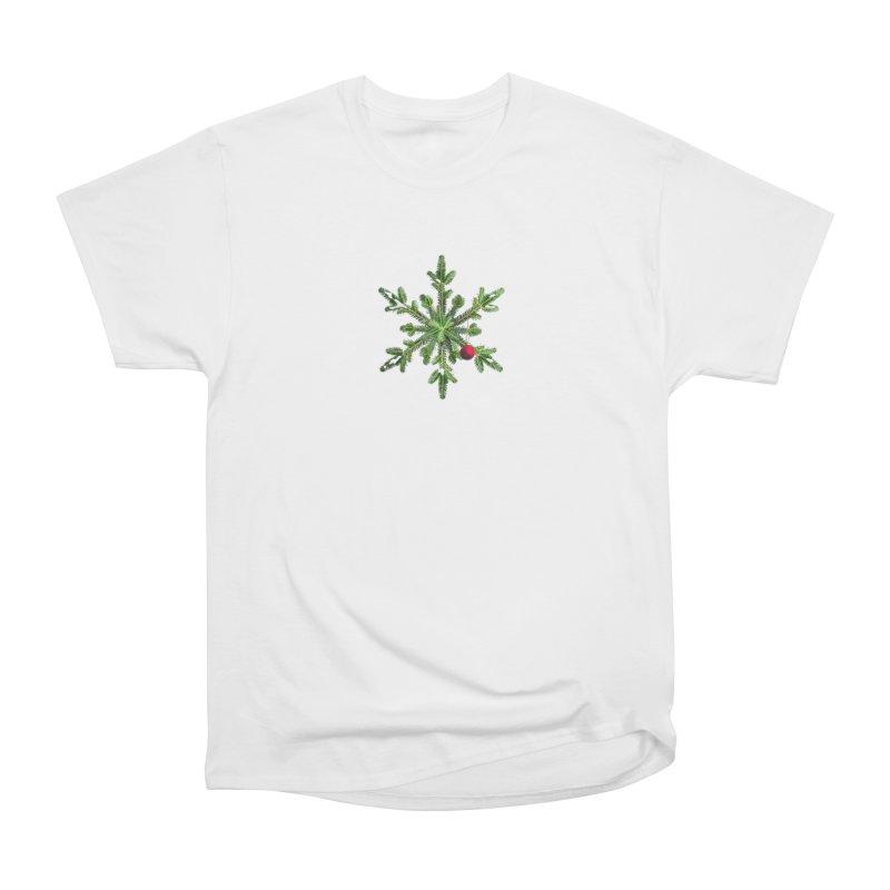 Beautiful Snowy Pine Snowflake Christmas Women's Heavyweight Unisex T-Shirt by Boriana's Artist Shop