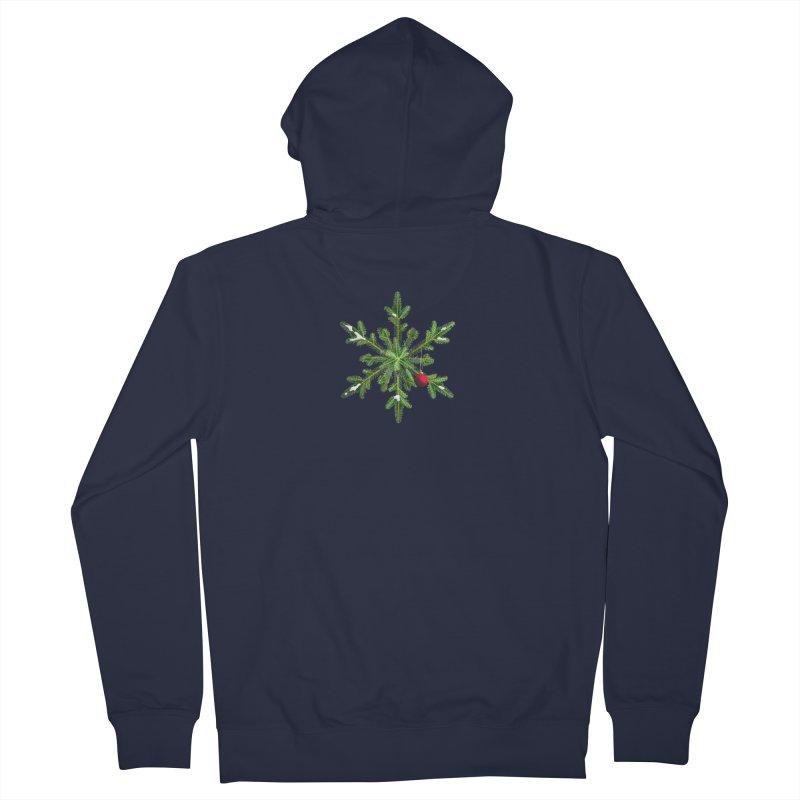 Beautiful Snowy Pine Snowflake Christmas Men's Zip-Up Hoody by Boriana's Artist Shop