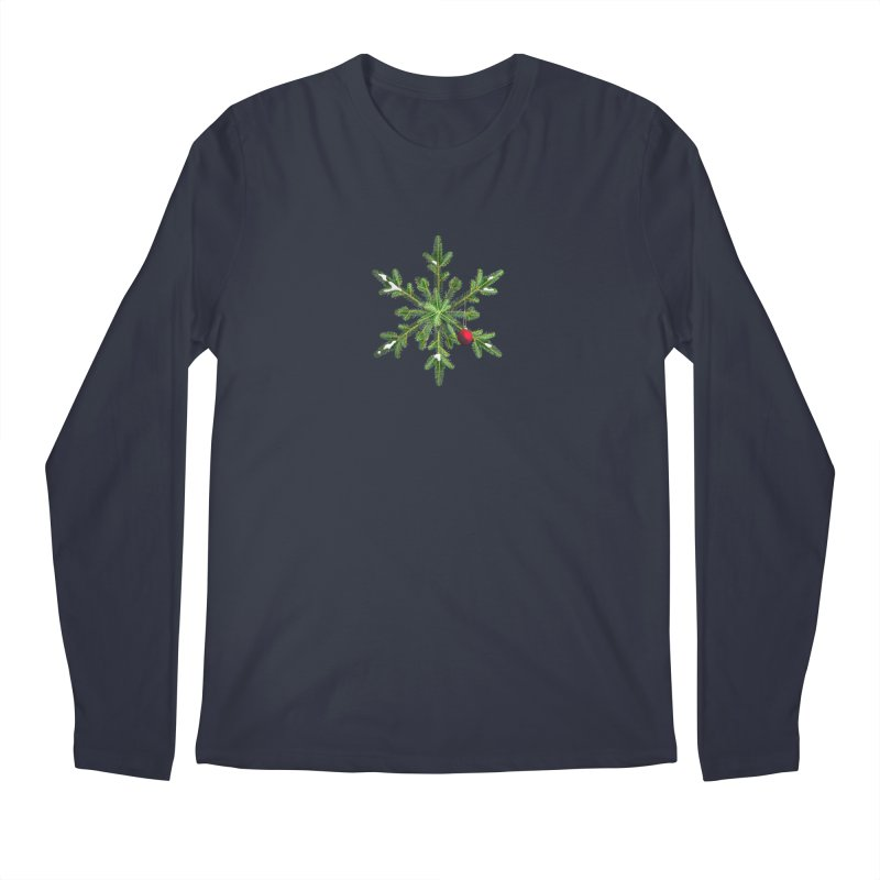 Beautiful Snowy Pine Snowflake Christmas Men's Longsleeve T-Shirt by Boriana's Artist Shop