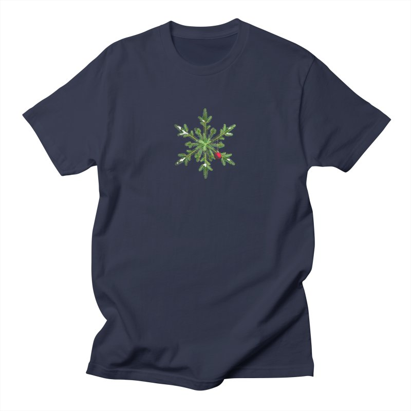 Beautiful Snowy Pine Snowflake Christmas Men's T-Shirt by Boriana's Artist Shop
