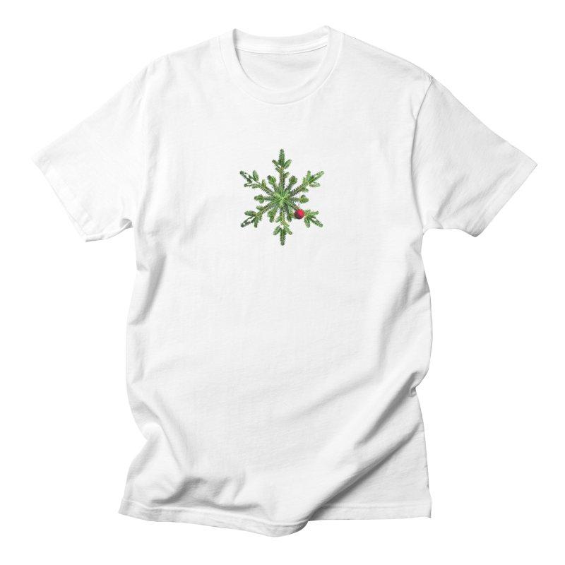 Beautiful Snowy Pine Snowflake Christmas Women's Regular Unisex T-Shirt by Boriana's Artist Shop
