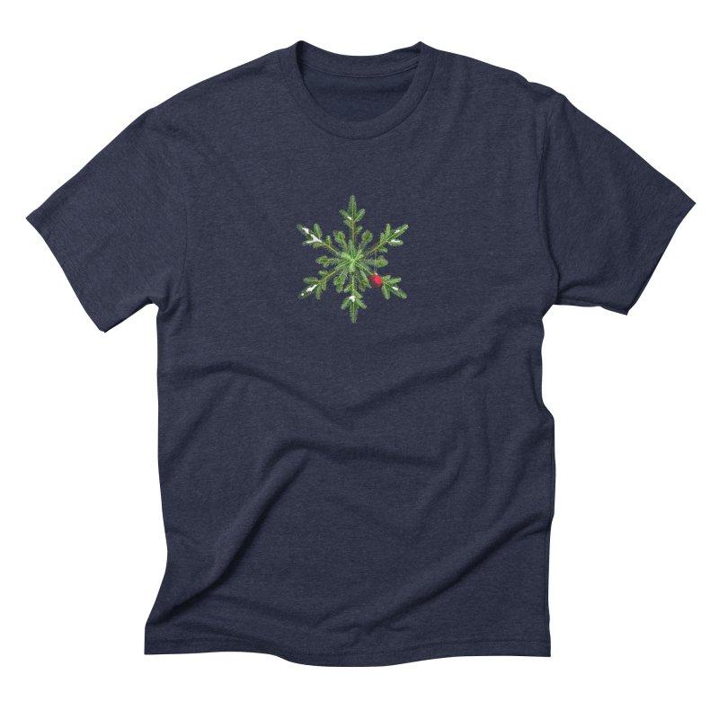 Beautiful Snowy Pine Snowflake Christmas Men's Triblend T-Shirt by Boriana's Artist Shop