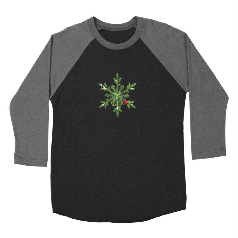 Beautiful Snowy Pine Snowflake Christmas Women's Baseball Triblend T-Shirt by Boriana's Artist Shop
