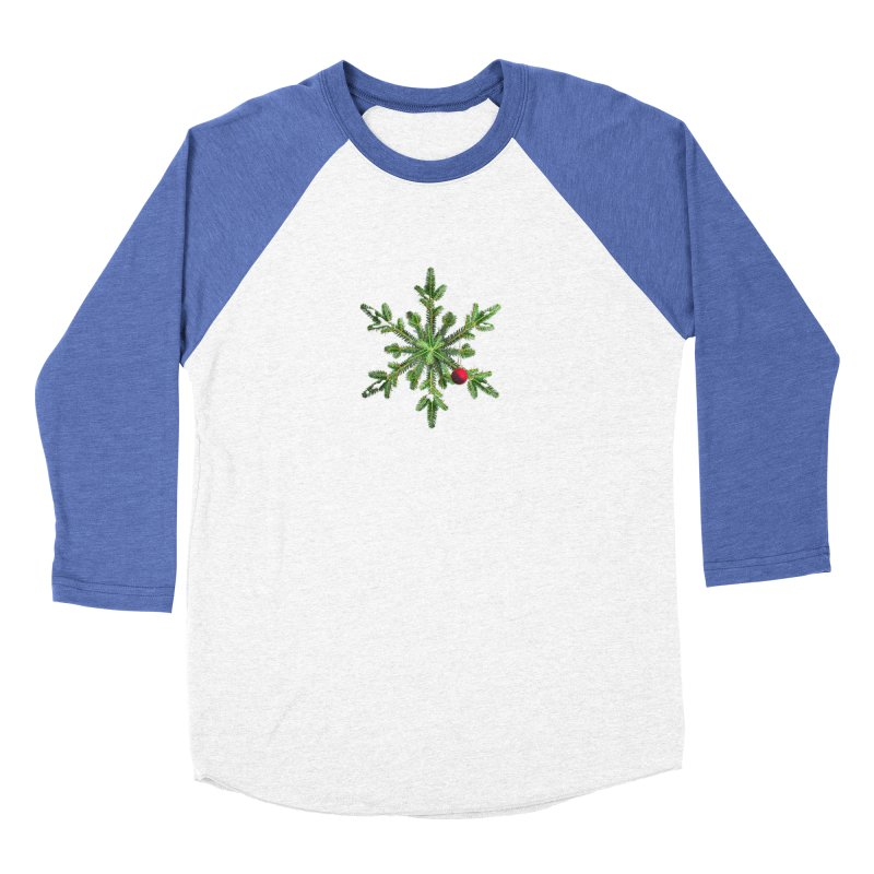 Beautiful Snowy Pine Snowflake Christmas Men's Baseball Triblend T-Shirt by Boriana's Artist Shop