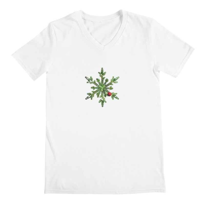 Beautiful Snowy Pine Snowflake Christmas Men's V-Neck by Boriana's Artist Shop
